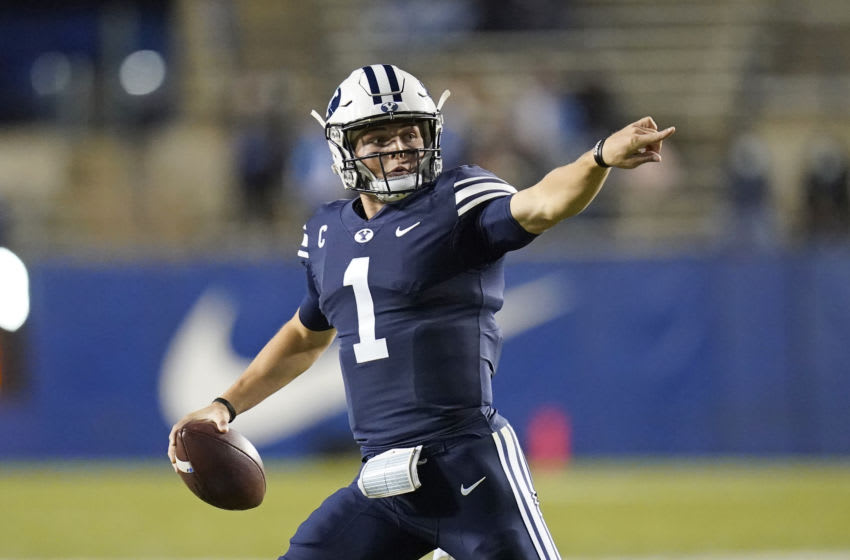 Oct 24, 2020; Provo, UT, USA; BYU quarterback Zach Wilson (1) looks down field in the first half during an NCAA college football game against Texas State Saturday, Oct. 24, 2020, in Provo, Utah. Mandatory Credit: Rick Bowmer/Pool Photo-USA TODAY NETWORK