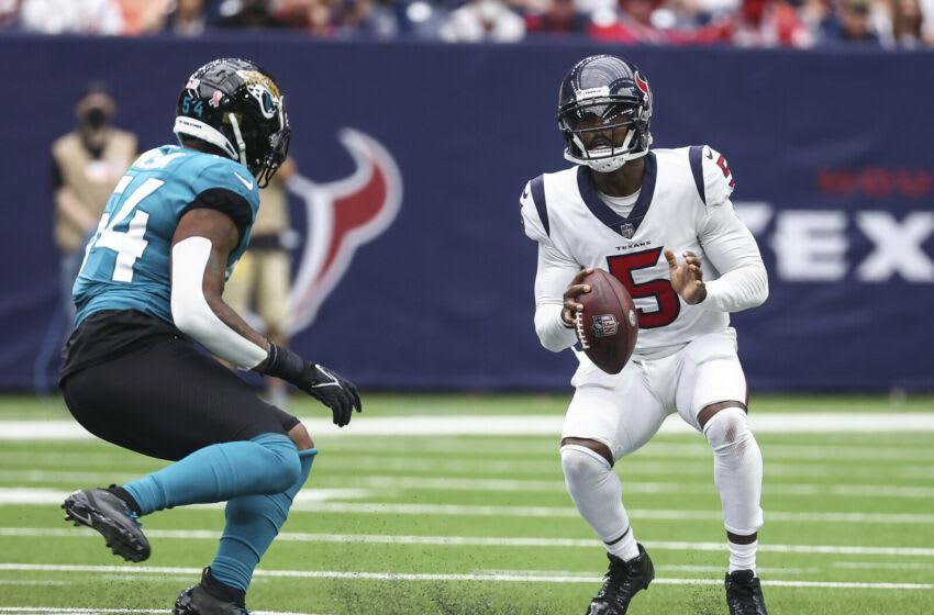 Houston Texans quarterback Tyrod Taylor (5) vs Jacksonville Jaguars at NRG Stadium (Troy Taormina-USA TODAY Sports)