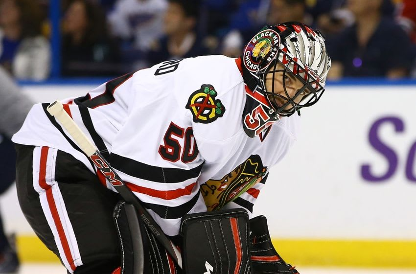 Apr 21, 2016; St. Louis, MO, USA; Chicago Blackhawks goalie Corey Crawford (50) is seen while there is a break in the action during the second period in game five of the first round of the 2016 Stanley Cup Playoffs against the St. Louis Blues at Scottrade Center. Mandatory Credit: Billy Hurst-USA TODAY Sports