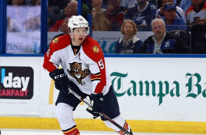 Mar 26, 2016; Tampa, FL, USA; Florida Panthers defenseman Brian Campbell (51) skates with the puck against the Tampa Bay Lightning during the third period at Amalie Arena. Florida Panthers defeated the Tampa Bay Lightning 5-2. Mandatory Credit: Kim Klement-USA TODAY Sports