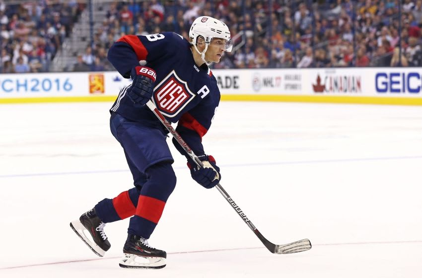Sep 9, 2016; Columbus, OH, USA; Team USA forward Patrick Kane (88) against Team Canada during a World Cup of Hockey pre-tournament game at Nationwide Arena. Team USA won 4-2. Mandatory Credit: Aaron Doster-USA TODAY Sports