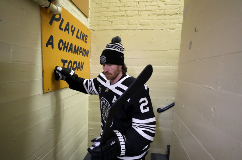 SOUTH BEND, IN - JANUARY 01: Duncan Keith #2 of the Chicago Blackhawks walks out of the locker room prior to the start of the 2019 Bridgestone NHL Winter Classic against the Boston Bruins at Notre Dame Stadium on January 1, 2019 in South Bend, Indiana. (Photo by Chase Agnello-Dean/NHLI via Getty Images)