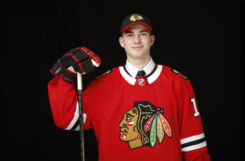 VANCOUVER, BRITISH COLUMBIA - JUNE 21: Kirby Dach poses for a portrait after being selected third overall by the Chicago Blackhawks during the first round of the 2019 NHL Draft at Rogers Arena on June 21, 2019 in Vancouver, Canada. (Photo by Kevin Light/Getty Images)