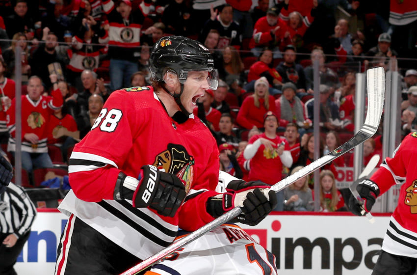 CHICAGO, IL - OCTOBER 14: Patrick Kane #88 of the Chicago Blackhawks reacts after scoring against the Edmonton Oilers in the second period at the United Center on October 14, 2019 in Chicago, Illinois. (Photo by Chase Agnello-Dean/NHLI via Getty Images)