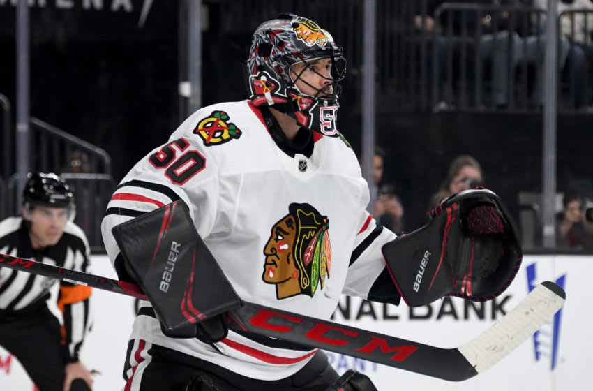 Corey Crawford #50, Chicago Blackhawks (Photo by Ethan Miller/Getty Images)