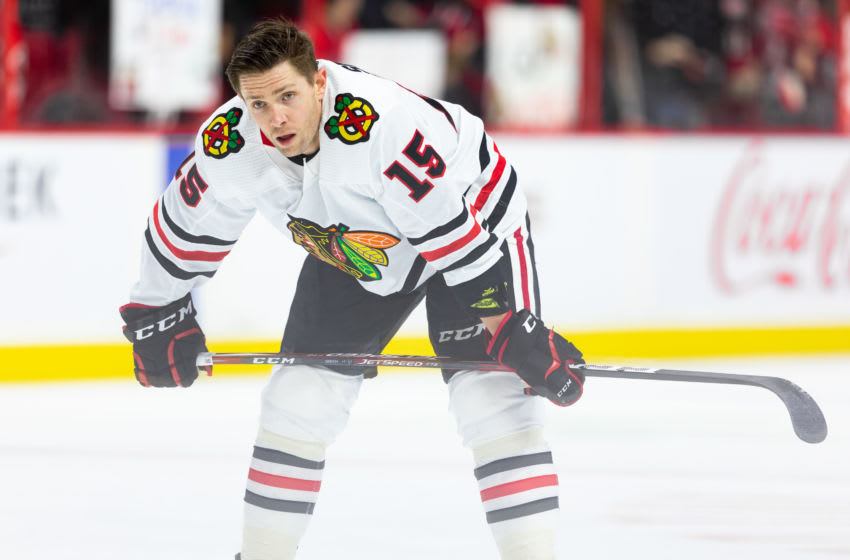 Zack Smith #15, Chicago Blackhawks (Photo by Richard A. Whittaker/Icon Sportswire via Getty Images)
