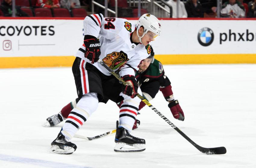 David Kampf #64, Chicago Blackhawks (Photo by Norm Hall/NHLI via Getty Images)