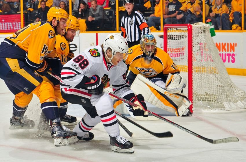 Patrick Kane #88, Chicago Blackhawks (Photo by Frederick Breedon/Getty Images)