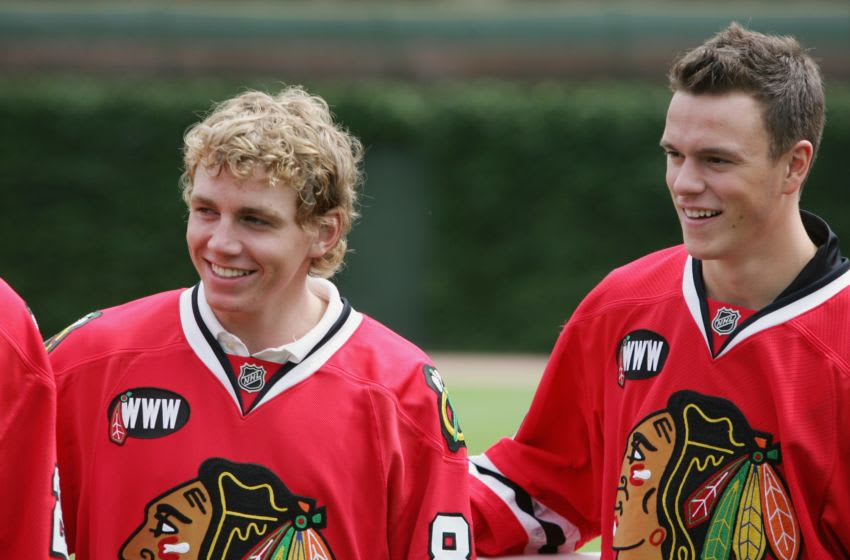 CHICAGO - JULY 22: Patrick Kane and Jonathan Toews of the Chicago Blackhawks look on at the NHL Winter Classic 2009 press conference on July 22, 2008 at Wrigley Field in Chicago, Illinois. (Photo by Jonathan Daniel/Getty Images for the NHL)