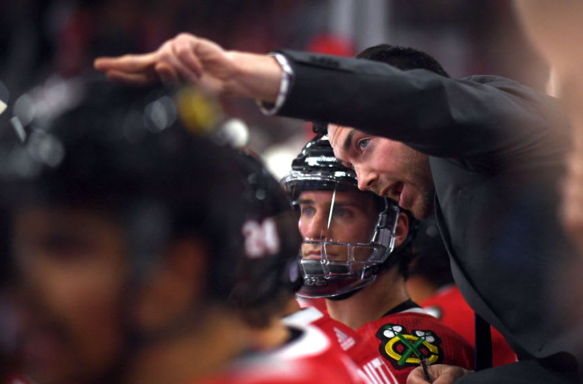 CHICAGO, IL - NOVEMBER 14: Chicago Blackhawks head coach Jeremy Colliton instructs Chicago Blackhawks left wing Brandon Saad (20) on the bench in action during a NHL game between the Chicago Blackhawks and the St. Louis Blues on November 14, 2018 at the United Center, in Chicago, Illinois. (Photo by Robin Alam/Icon Sportswire via Getty Images)