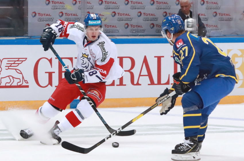 MOSCOW, RUSSIA DECEMBER 16, 2018: The Czech Republic's Dominik Kubalik (L) and Sweden's Jesper Pettersson in action in their 2018-19 Euro Hockey Tour Channel One Cup ice hockey match at CSKA Arena. Sergei Fadeichev/TASS (Photo by Sergei FadeichevTASS via Getty Images)