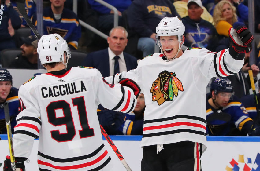 Connor Murphy #5, Chicago Blackhawks (Photo by Dilip Vishwanat/Getty Images)