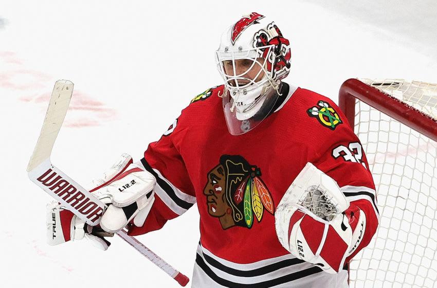 Kevin Lankinen #32, Chicago Blackhawks (Photo by Jonathan Daniel/Getty Images)