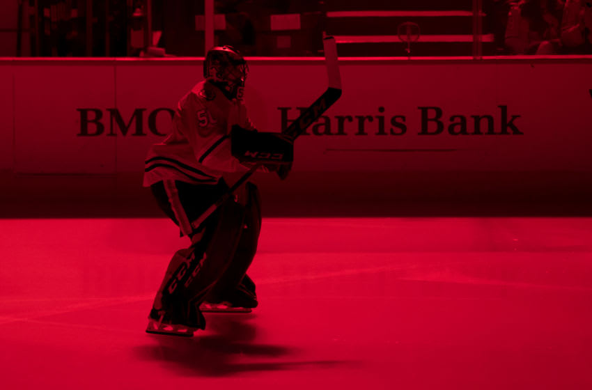 CHICAGO, IL - DECEMBER 17: Chicago Blackhawks goalie Corey Crawford (50) skates prior to a game between the Chicago Blackhawks and the Minnesota Wild on December 17, 2017, at the United Center in Chicago, IL. (Photo by Patrick Gorski/Icon Sportswire via Getty Images)