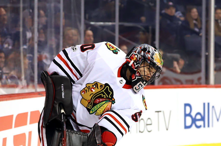 WINNIPEG, MB - DECEMBER 14: Goaltender Corey Crawford