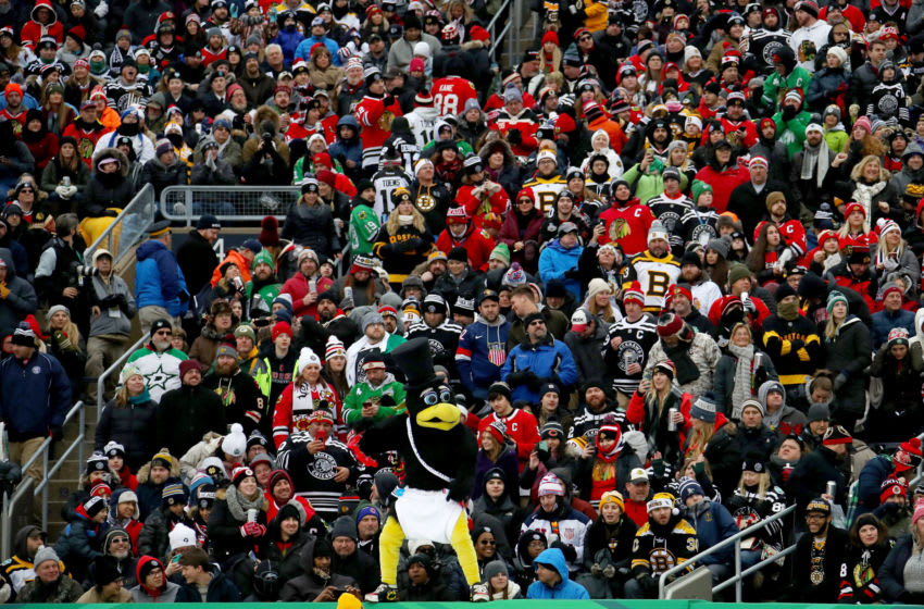 SOUTH BEND, INDIANA - JANUARY 01: Tommy Hawk entertains fans during the 2019 Bridgestone NHL Winter Classic between the Boston Bruins and Chicago Blackhawks at Notre Dame Stadium on January 01, 2019 in South Bend, Indiana. (Photo by Gregory Shamus/Getty Images)
