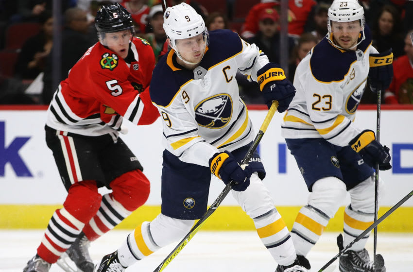 CHICAGO, ILLINOIS - MARCH 07: Jack Eichel #9 of the Buffalo Sabres shoots against the Chicago Blackhawks at the United Center on March 07, 2019 in Chicago, Illinois. (Photo by Jonathan Daniel/Getty Images)