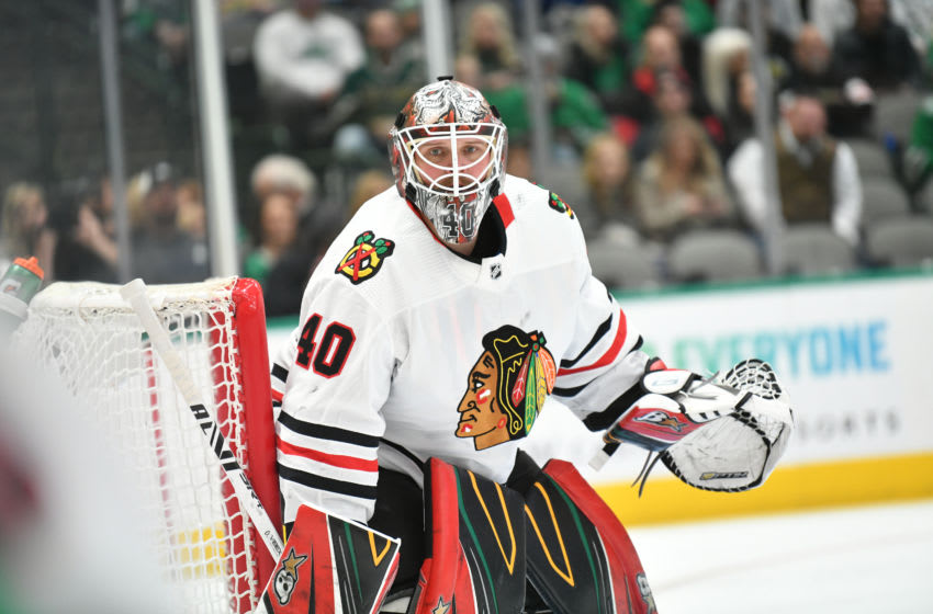 DALLAS, TX - NOVEMBER 21: Robin Lehner #40 of the Chicago Blackhawks tends goal against the Dallas Stars at the American Airlines Center on November 21, 2019 in Dallas, Texas. (Photo by Glenn James/NHLI via Getty Images)