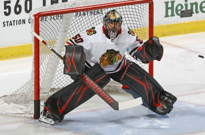Corey Crawford #50, Chicago Blackhawks (Photo by Joel Auerbach/Getty Images)