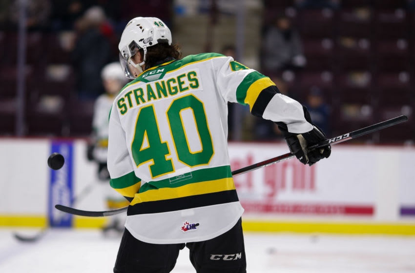 WINDSOR, ONTARIO - FEBRUARY 20: Forward Antonio Stranges #40 of the London Knights skates prior to a game against the Windsor Spitfires at WFCU Centre on February 20, 2020 in Windsor, Ontario, Canada. (Photo by Dennis Pajot/Getty Images)