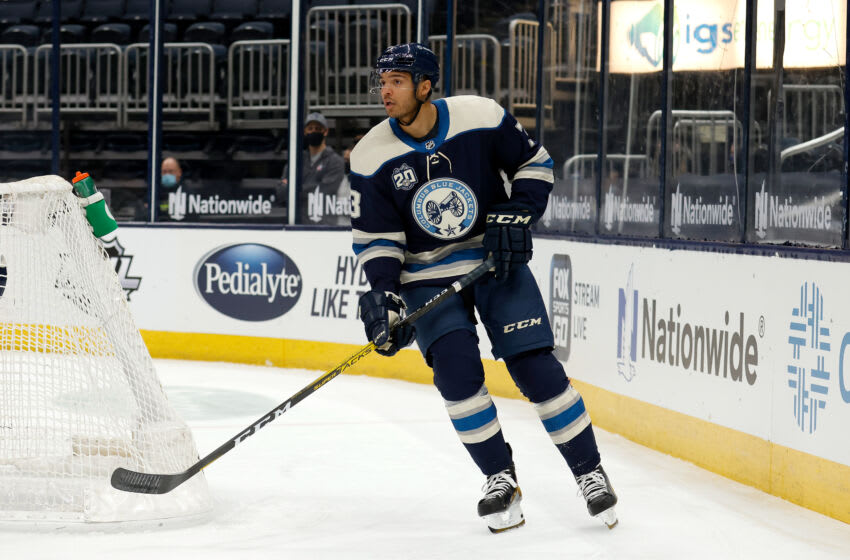 COLUMBUS, OH - FEBRUARY 7: Seth Jones #3 of the Columbus Blue Jackets skates after the puck during the game against the Carolina Hurricanes at Nationwide Arena on February 7, 2021 in Columbus, Ohio. (Photo by Kirk Irwin/Getty Images)