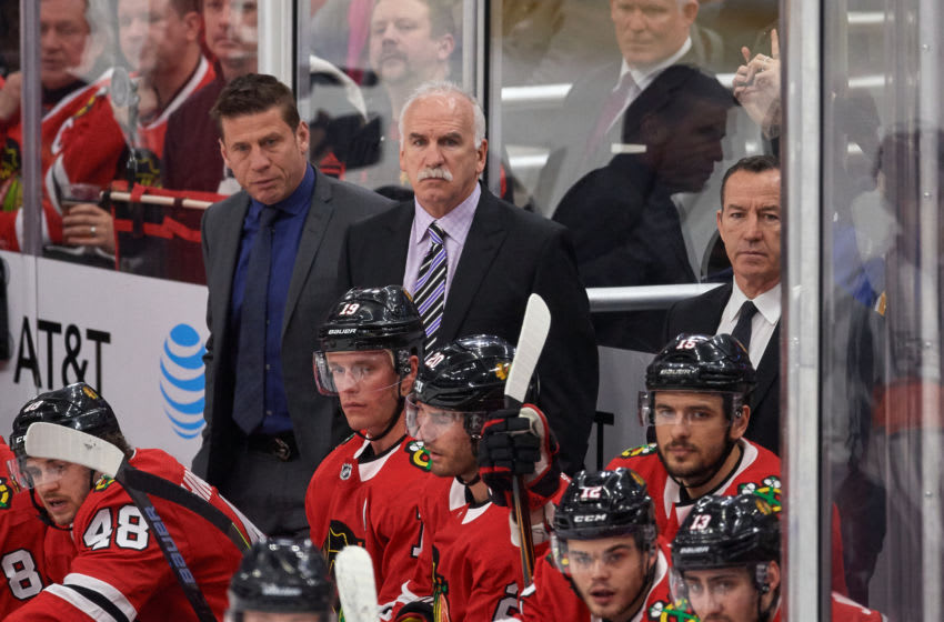 CHICAGO, IL - MARCH 18: Chicago Blackhawks head coach Joel Quenneville looks on during the game between the Chicago Blackhawks and the St. Louis Blues on March 18, 2018, at the United Center in Chicago, Illinois. (Photo by Robin Alam/Icon Sportswire via Getty Images)
