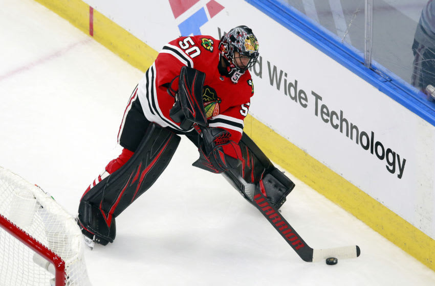 Corey Crawford #50, Chicago Blackhawks (Photo by Jeff Vinnick/Getty Images)
