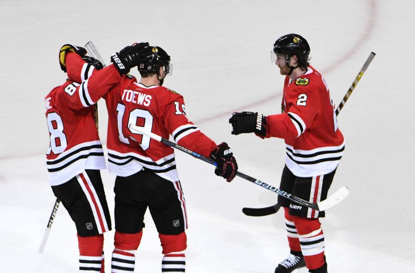 Patrick Kane, Jonathan Toews, Duncan Keith, Chicago Blackhawks Mandatory Credit: David Banks-USA TODAY Sports