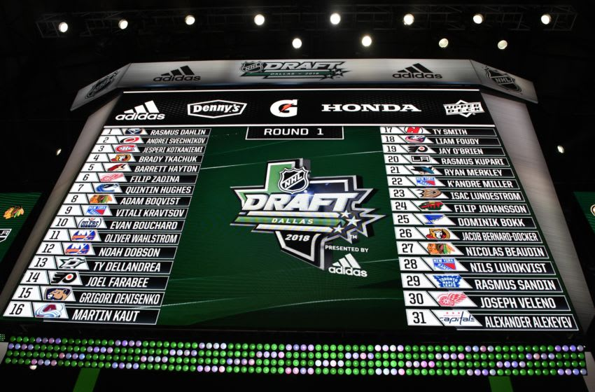 Jun 22, 2018; Dallas, TX, USA; A general view of the draft board with the first round picks after the first round of the 2018 NHL Draft at American Airlines Center. Mandatory Credit: Jerome Miron-USA TODAY Sports