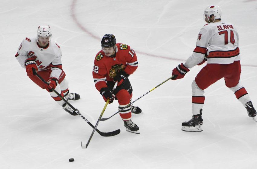 Chicago Blackhawks, Alex DeBrincat, Lucas Wallmark Mandatory Credit: David Banks-USA TODAY Sports