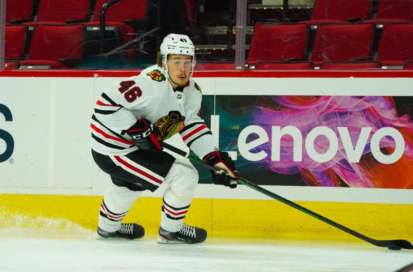 Lucas Carlsson #46, Chicago Blackhawks Mandatory Credit: James Guillory-USA TODAY Sports