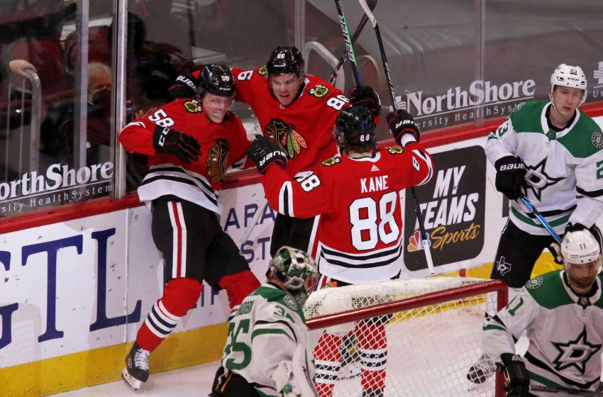 Patrick Kane #88, Mike Hardman #86, Mackenzie Entwistle #58, Chicago Blackhawks Mandatory Credit: Eileen T. Meslar-USA TODAY Sports