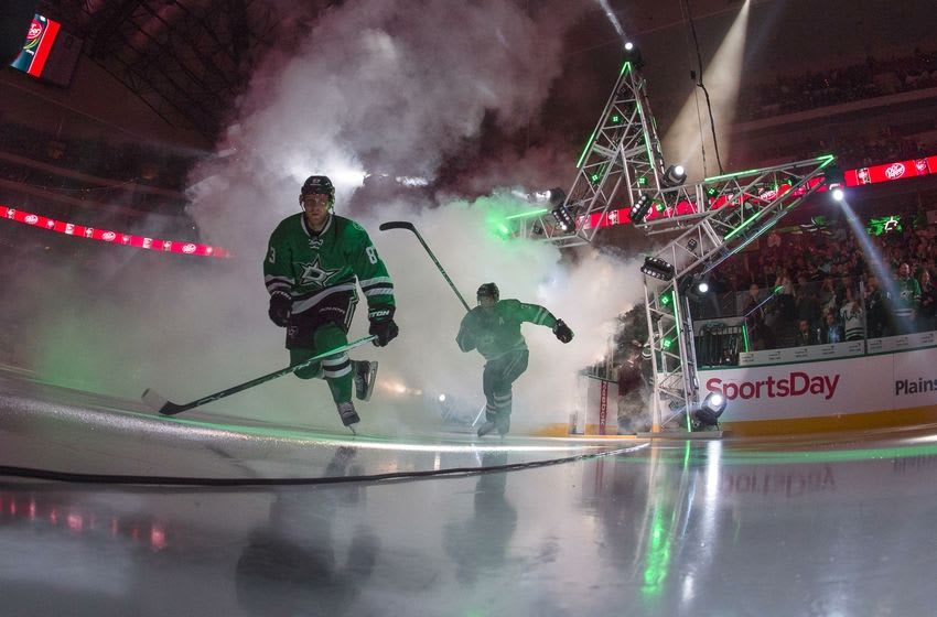 Mar 12, 2016; Dallas, TX, USA; The Dallas Stars take the ice to face the St. Louis Blues at the American Airlines Center. Mandatory Credit: Jerome Miron-USA TODAY Sports