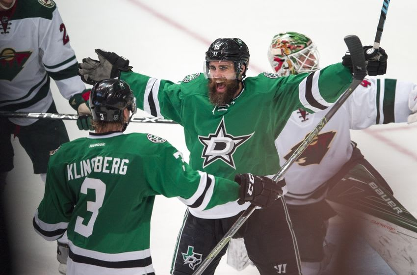 Apr 14, 2016; Dallas, TX, USA; Dallas Stars right wing Patrick Eaves (18) and defenseman John Klingberg (3) celebrate Eaves goal against Minnesota Wild goalie Devan Dubnyk (40) during the third period in game one of the first round of the 2016 Stanley Cup Playoffs at American Airlines Center. The Stars shut out the Wild 4-0. Mandatory Credit: Jerome Miron-USA TODAY Sports