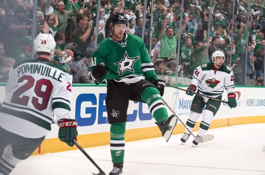 Apr 14, 2016; Dallas, TX, USA; Dallas Stars center Jason Spezza (90) celebrates a goal scored against the Minnesota Wild during the second period in game one of the first round of the 2016 Stanley Cup Playoffs at American Airlines Center. Mandatory Credit: Jerome Miron-USA TODAY Sports