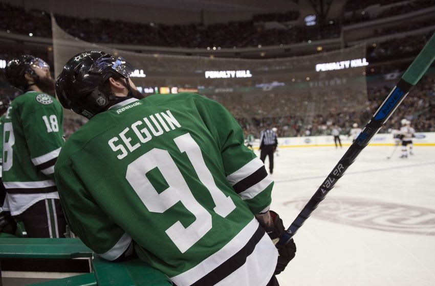 Feb 20, 2016; Dallas, TX, USA; Dallas Stars center Tyler Seguin (91) checks out the replay screen during the third period against the Boston Bruins at the American Airlines Center. The Bruins defeat the Stars 7-3. Mandatory Credit: Jerome Miron-USA TODAY Sports