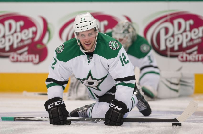 Mar 31, 2016; Dallas, TX, USA; Dallas Stars rookie center Radek Faksa (12) stretches on the ice prior to the game against the Arizona Coyotes at the American Airlines Center. Mandatory Credit: Jerome Miron-USA TODAY Sports
