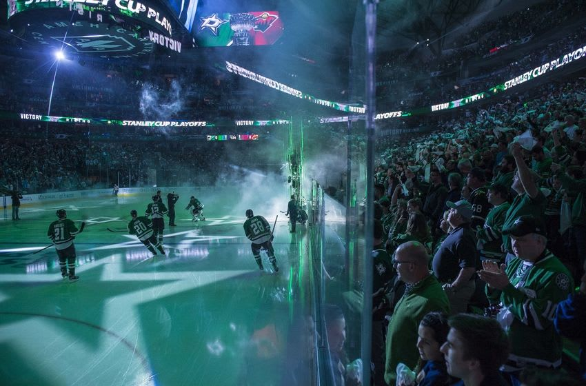 Apr 16, 2016; Dallas, TX, USA; The Dallas Stars take the ice to face the Minnesota Wild during the first period of game two of the first round of the 2016 Stanley Cup Playoffs at the American Airlines Center. Mandatory Credit: Jerome Miron-USA TODAY Sports