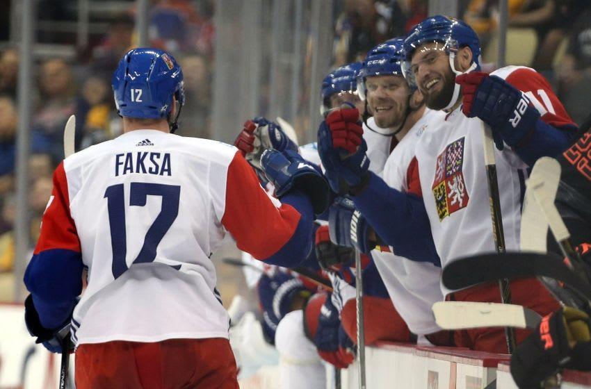 Sep 14, 2016; Pittsburgh, PA, USA; Team Czech Republic forward Radek Faksa (12) celebrates with the bench after scoring a goal against Team North America during the third period in a World Cup of Hockey pre-tournament game at CONSOL Energy Center. Mandatory Credit: Charles LeClaire-USA TODAY Sports