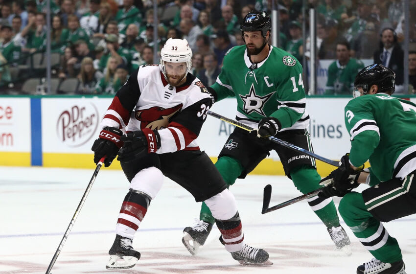 DALLAS, TX - OCTOBER 04: Alex Goligoski #33 of the Arizona Coyotes at American Airlines Center on October 4, 2018 in Dallas, Texas. (Photo by Ronald Martinez/Getty Images)