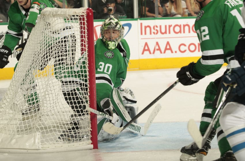 DALLAS, TX - OCTOBER 6: Ben Bishop #30 of the Dallas Stars tends goal against the Winnipeg Jets at the American Airlines Center on October 6, 2018 in Dallas, Texas. (Photo by Glenn James/NHLI via Getty Images)