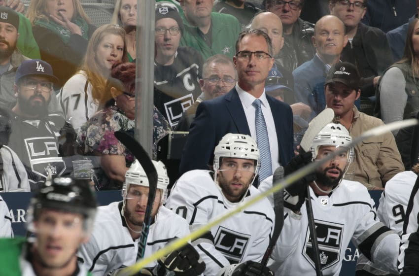 DALLAS, TX - OCTOBER 23: John Stevens of the Los Angeles Kings watches the action from behind the bench against the Dallas Stars at the American Airlines Center on October 23, 2018 in Dallas, Texas. (Photo by Glenn James/NHLI via Getty Images)