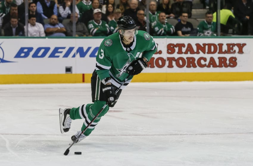 DALLAS, TX - OCTOBER 23: Dallas Stars defenseman John Klingberg (3) skates with the puck during the game between the Dallas Stars and the Los Angeles Kings on October 23, 2018 at the American Airlines Center in Dallas, Texas. (Photo by Matthew Pearce/Icon Sportswire via Getty Images)