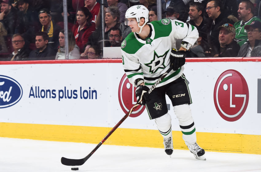 MONTREAL, QC - OCTOBER 30: Dallas Stars defenceman John Klingberg (3) looks for a pass target during the Dallas Stars versus the Montreal Canadiens game on October 30, 2018, at Bell Centre in Montreal, QC (Photo by David Kirouac/Icon Sportswire via Getty Images)