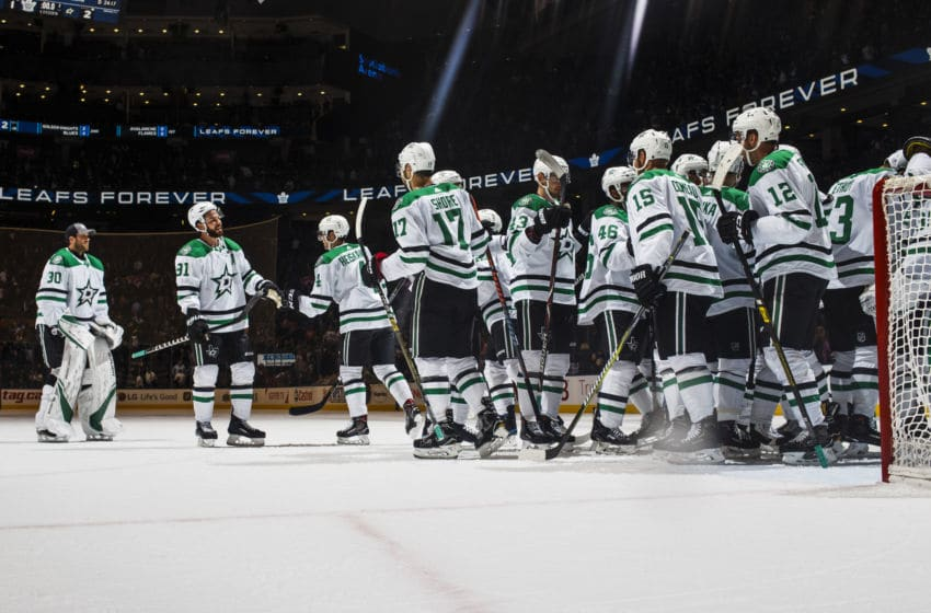 TORONTO, ON - NOVEMBER 1: Dallas Stars celebrate their win over the Toronto Maple Leafs at the Scotiabank Arena on November 1, 2018 in Toronto, Ontario, Canada. (Photo by Mark Blinch/NHLI via Getty Images)