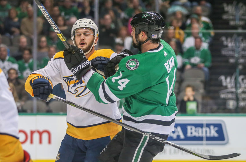 DALLAS, TX - NOVEMBER 10: Dallas Stars Left Wing Jamie Benn (14) tangles with Nashville Predators Defenseman Mattias Ekholm (14) during the game between the Dallas Stars and Nashville Predators on November 10, 2018 at the American Airlines Center in Dallas, TX. (Photo by George Walker/Icon Sportswire via Getty Images)