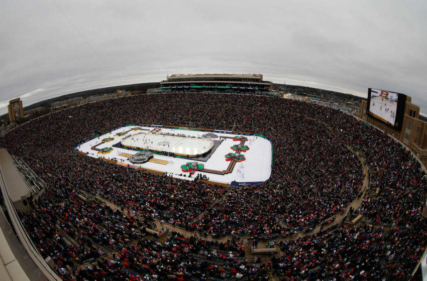 SOUTH BEND, IN - JANUARY 01: A general view of action is seen from the upper area of Notre Dame stadium during the second period of the 2019 Bridgestone NHL Winter Classic between the Boston Bruins and the Chicago Blackhawks at Notre Dame Stadium on January 1, 2019 in South Bend, Indiana. (Photo by Eliot J. Schechter/NHLI via Getty Images)