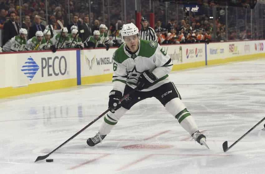 PHILADELPHIA, PA - JANUARY 10: Dallas Stars Defenceman Julius Honka (6) shoots the puck during the game between the Dallas Stars and the Philadelphia Flyers on January 10, 2019 at Wells Fargo Center in Philadelphia,PA. (Photo by Andy Lewis/Icon Sportswire via Getty Images)