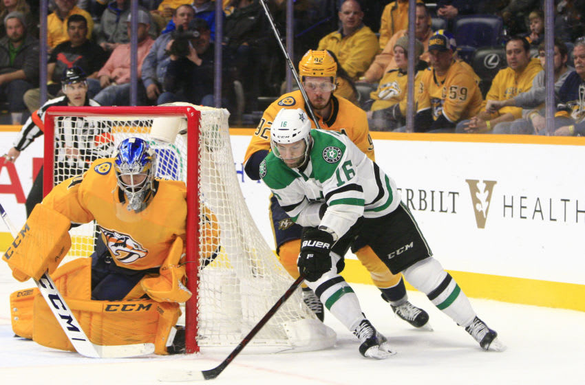 NASHVILLE, TN - FEBRUARY 07: Dallas Stars center Jason Dickinson (16) is shown during the NHL game between the Nashville Predators and Dallas Stars, held on February 7, 2019, at Bridgestone Arena in Nashville, Tennessee. (Photo by Danny Murphy/Icon Sportswire via Getty Images)