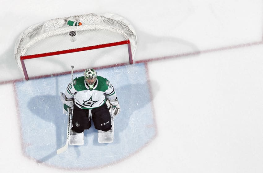 ST. PAUL, MN - MARCH 14: Ben Bishop #30 of the Dallas Stars surveys they ice from his crease during a game with the Minnesota Wild at Xcel Energy Center on March 14, 2019 in St. Paul, Minnesota.(Photo by Bruce Kluckhohn/NHLI via Getty Images)